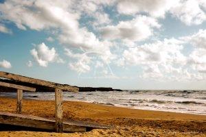 Steg Strand Sizilien Wolken Meer