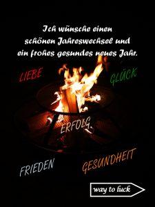 Silvester Grußkarte. Jahreswechsel. Ich wünsche einen schönen Jahreswechsel und ein frohes gesundes neues Jahr. Liebe, Glück, Erfolg, Frieden, Gesundheit. - way to luck.